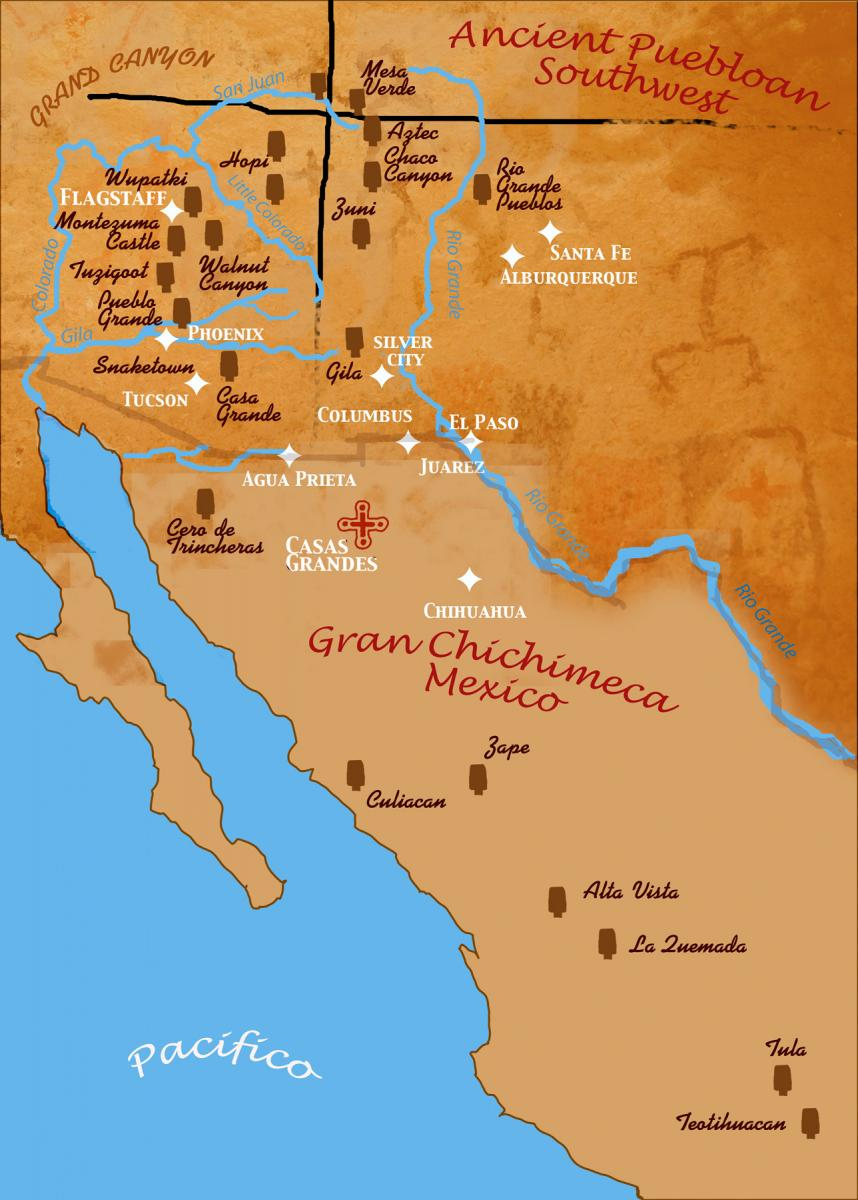 Map design of the Greater Southwest and N. Mexico.
